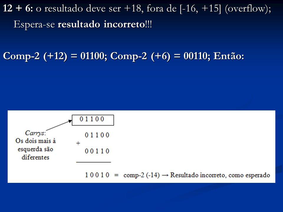 12 + 6: o resultado deve ser +18, fora de [-16, +15] (overflow); Espera-se resultado incorreto!!.